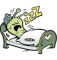 Cartoon of an little worm that sleeps vector