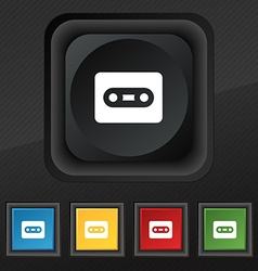 Cassette icon symbol Set of five colorful stylish vector image vector image
