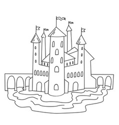 castle coloring page hand drawn for vector image