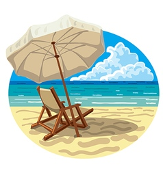 chair and umbrella on beach vector image