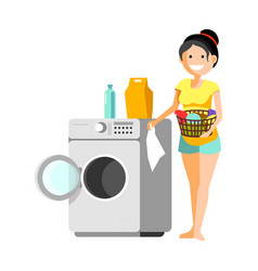 Cheerful woman putting clothes to washer vector