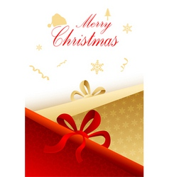 Christmas card with present vector image
