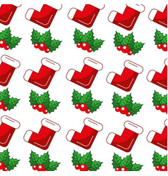 christmas socks and leafs pattern background vector image