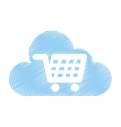 Cloud computing with cart shopping isolated icon vector