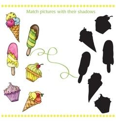 Colorful tasty cartoon ice cream - match the vector image