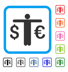 currency trader framed icon vector image