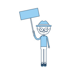 Cute grandfather with protest label avatar vector