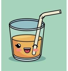 Delicious juice orange kawaii graphic vector