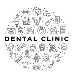 Dental clinic circle infographics stomatology vector