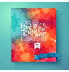 Dynamic vibrant save the date wedding invitation vector