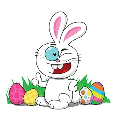 Easter Bunny With Eggs Winking vector image