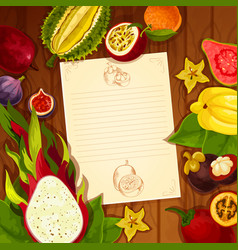 Exotic fruits recipe note blank vector