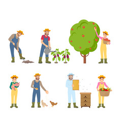 Farmers woman and man set vector