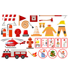 Firefighter elements fire department emergency vector