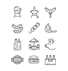 Flat bbq icons vector