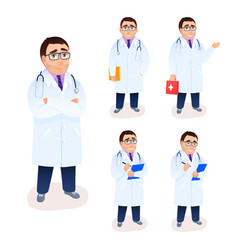 flat doctor character portrait on white background vector image