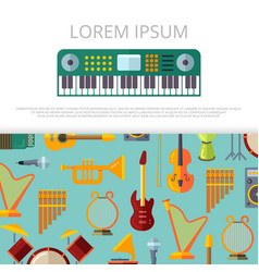 flat musical instrumets banner template vector image