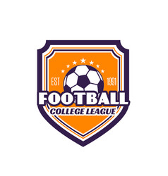 football college league soccer badge icon vector image