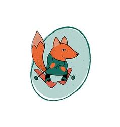Fox skiing vector