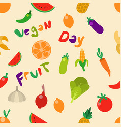 fruit vegetable seamless pattern vector image