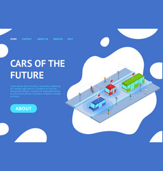 Future transport concept landing web page template vector