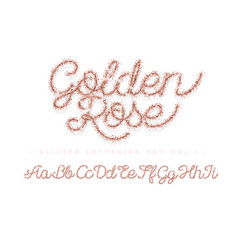 glitter rose gold handwritten alphabet vector image