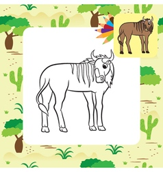 gnu coloring page vector image