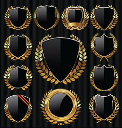 Gold and black shield and laurel wreath collection vector