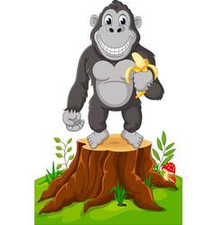 gorilla cartoon standing on tree stump vector image