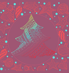 Gradient christmas fir tree and toys on maroon vector