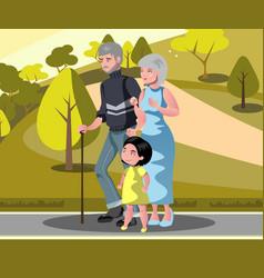 Grandparents with grandchildren walking vector