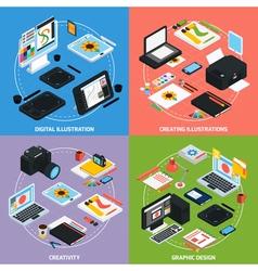 Graphic design 2x2 isometric concept vector