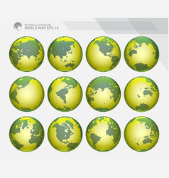 Green dotted earth globes sets vector