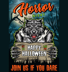 halloween party colorful poster vector image