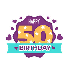 Happy birthday 50 anniversary isolated icon vector