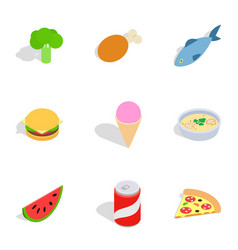 Healthy food icons isometric 3d style vector