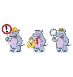 Hippo Mascot with money vector image
