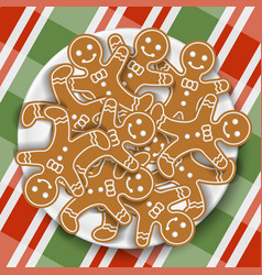 holiday gingerbread man cookies vector image