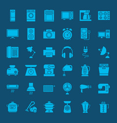 household solid web icons vector image