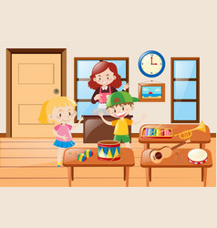 Kids and different kinds of musical instrument vector
