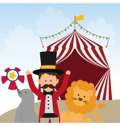 Lion seal and tamer icon Circus and Carnival vector