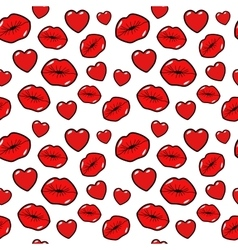 Lips Kiss Love and Heart Seamless Pattern vector