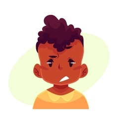 Little boy face upset confused facial expression vector