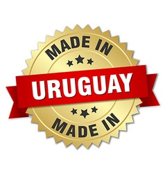 Made in Uruguay gold badge with red ribbon vector