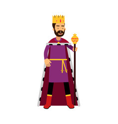 Majestic king in gold crown standing and holding vector