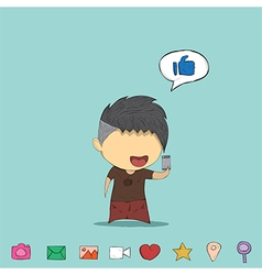 Male teens playing with phone icon vector image