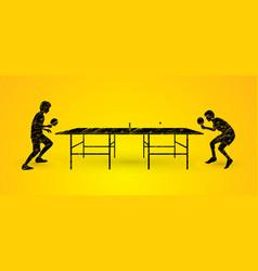 Men play table tennis ping pong 2 player vector