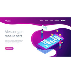 messaging application isometric 3d landing page vector image