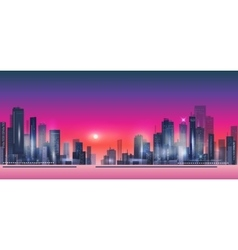 Modern night city skyline at sunset vector