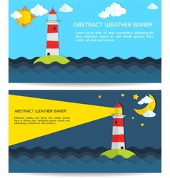 Modern weather background with lighthouse sun moon vector